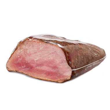 Packaged pastrami using high barrier shrink bags