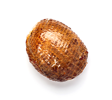 Elastic netting pattern on ham